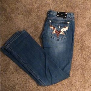 Miss Me cow print pocket jeans